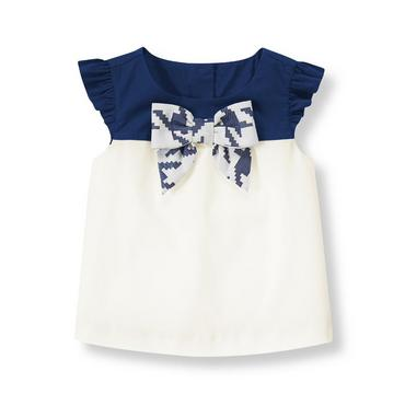 Ivory Bow Colorblock Top at JanieandJack