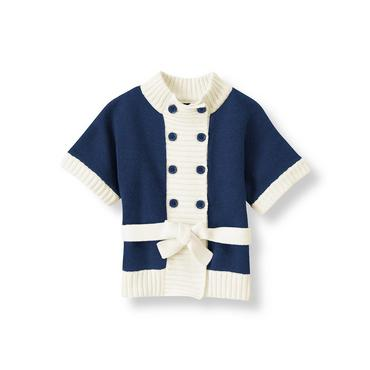 Navy Double Button Sweater Jacket at JanieandJack