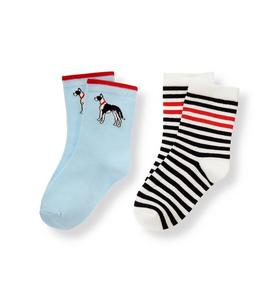 Dog Striped Sock Two-Pack