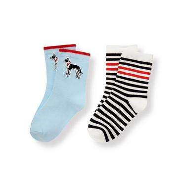Boys Sky Blue/Black Stripe Dog Striped Sock Two-Pack at JanieandJack