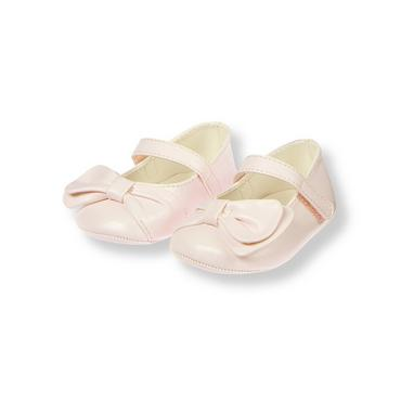 Soft Pink Bow Crib Shoe at JanieandJack