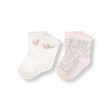 Ivory/Soft Pink Blossom Songbird Floral Sock Two-Pack at JanieandJack