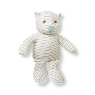 Train Blue Stripe Striped Bear Rattle at JanieandJack