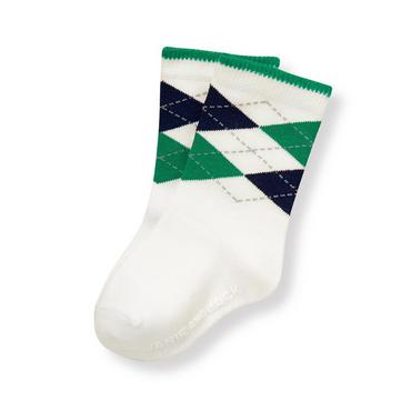 Baby Boy Ivory Argyle Crib Sock at JanieandJack