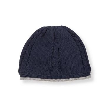 Baby Boy Classic Navy Tipped Sweater Beanie at JanieandJack