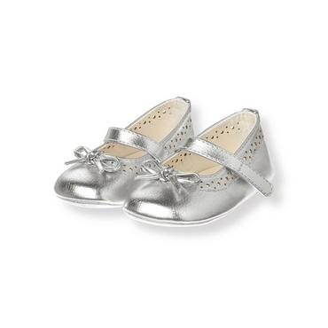 Metallic Silver Metallic Crib Shoe at JanieandJack
