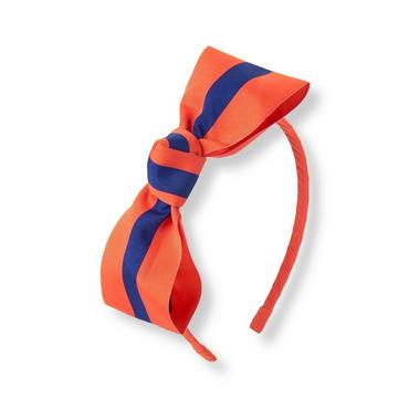 Bright Mandarin Striped Ribbon Headband at JanieandJack
