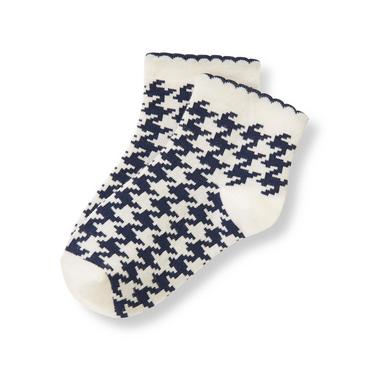 Navy Houndstooth Houndstooth Sock at JanieandJack