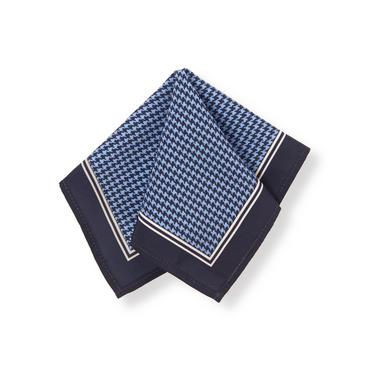 Navy Check Houndstooth Pocket Square at JanieandJack