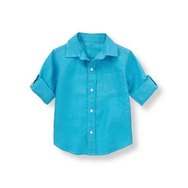 Reef Blue Linen Roll Cuff Shirt at JanieandJack