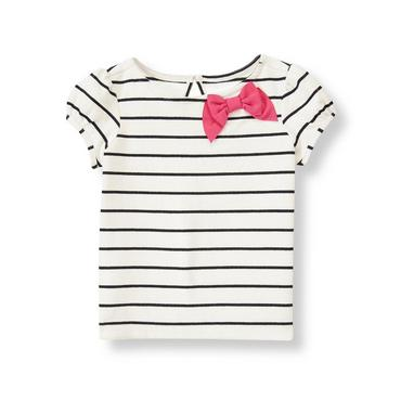 Ivory Stripe Bow Striped Top at JanieandJack