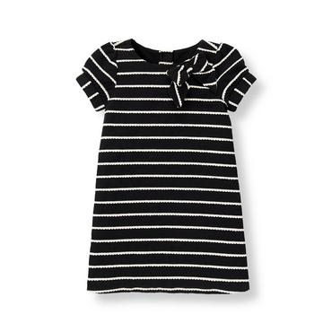 Black Stripe Bow Striped Dress at JanieandJack