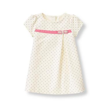 Baby Girl Ivory Dot Ribbon Ponte Dress at JanieandJack