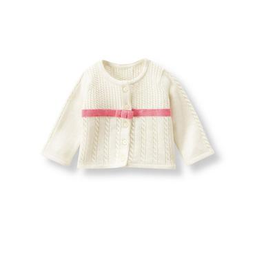 Ivory Ribbon Cardigan at JanieandJack