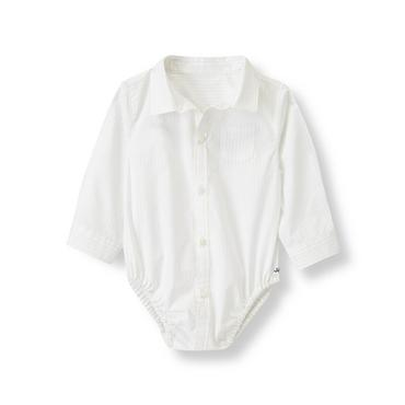 Ivory Pinstriped Shirt Bodysuit at JanieandJack
