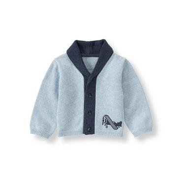 Baby Boy Periwinkle Airplane Cardigan at JanieandJack