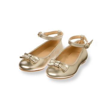 Metallic Gold Bow Ballet Flat at JanieandJack