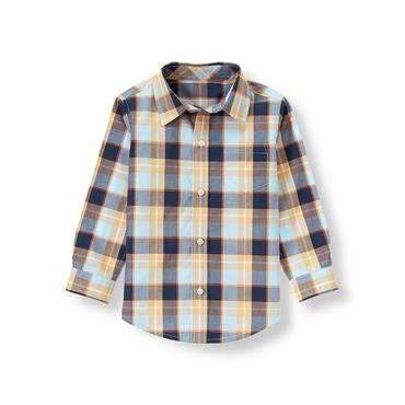 Classic Navy Plaid Plaid Poplin Shirt at JanieandJack