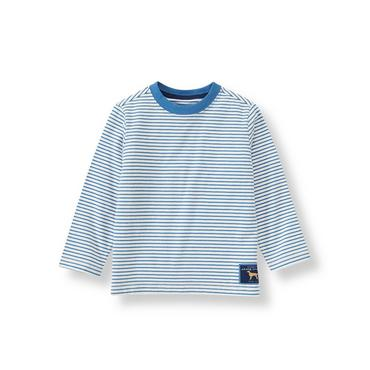 Cornflower Blue Stripe Long Sleeve Striped Tee at JanieandJack