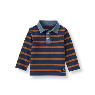 Orange Rust Stripe Striped Rugby Shirt at JanieandJack