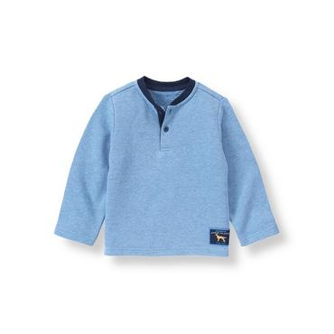 Cornflower Blue Terry Henley Pullover at JanieandJack