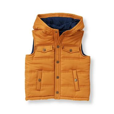 Orange Rust Hooded Puffer Vest at JanieandJack