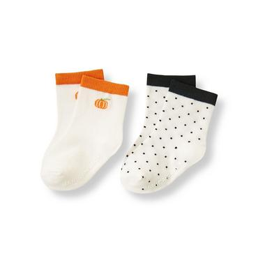 Ivory Dot Pumpkin Sock Two-Pack at JanieandJack