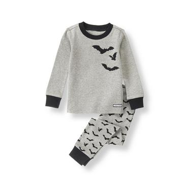 Heathered Grey Bat Pajama Set at JanieandJack