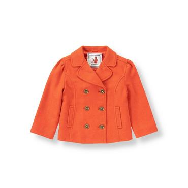 Bright Mandarin Double Button Coat at JanieandJack
