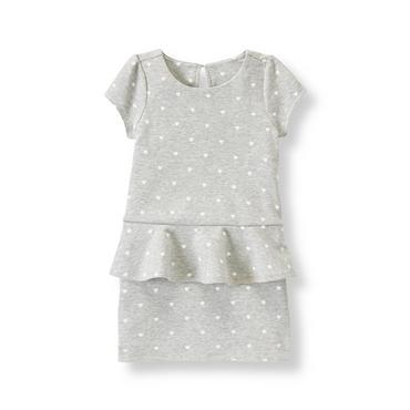 Heather Grey Heart Heart Peplum Dress at JanieandJack