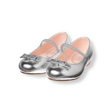 Metallic Silver Metallic Ballet Flat at JanieandJack