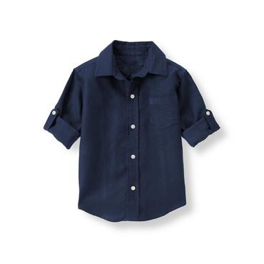 Navy Linen Roll Cuff Shirt at JanieandJack