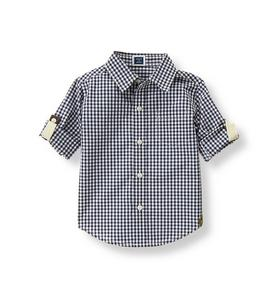 Gingham Roll-Cuff Shirt