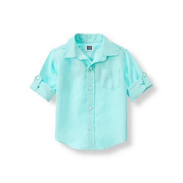 Aqua Linen Roll Cuff Shirt at JanieandJack