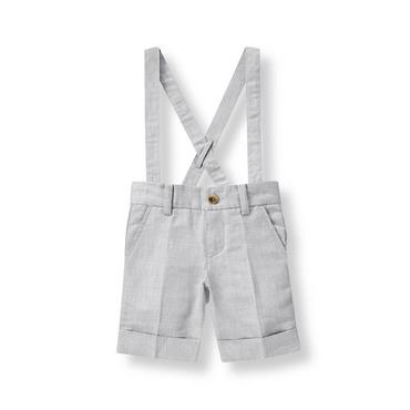 Boys Heather Grey Linen Blend Suspender Short at JanieandJack