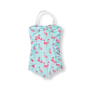 Aqua Flamingo Flamingo Print Swimsuit at JanieandJack