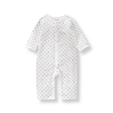 Baby Boy White Pattern Elephant Logo 1-Piece at JanieandJack