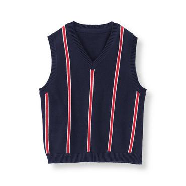 Baby Boy Varsity Red Stripe Striped V-Neck Sweater Vest at JanieandJack
