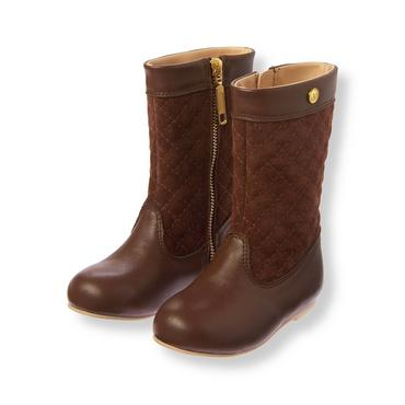Brown Quilted Riding Boot at JanieandJack
