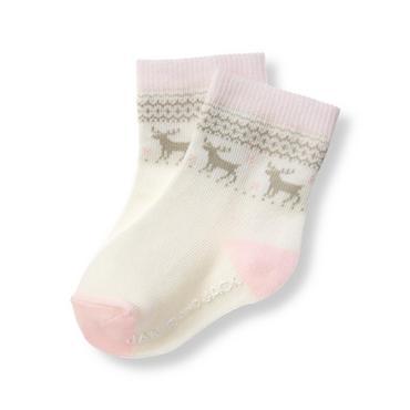 Ivory Fair Isle Reindeer Fair Isle Sock at JanieandJack