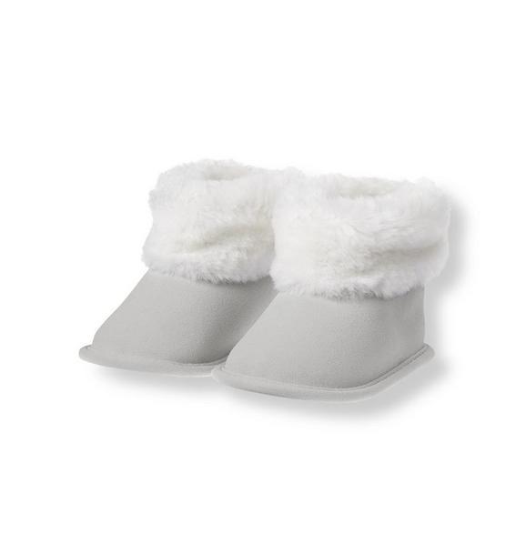 Faux Fur Trimmed Crib Bootie