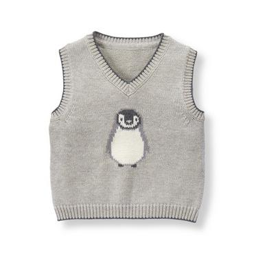 Baby Boy Heather Grey Penguin Sweater Vest at JanieandJack