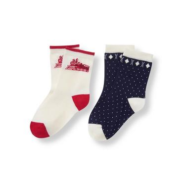 Baby Boy Ivory Train Birdseye Sock 2-Pack at JanieandJack