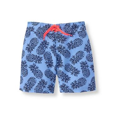 Pacific Blue Pattern Pineapple Print Swim Trunk at JanieandJack