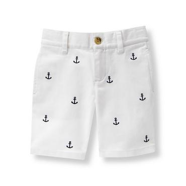 Boys White Embroidered Anchor Short at JanieandJack