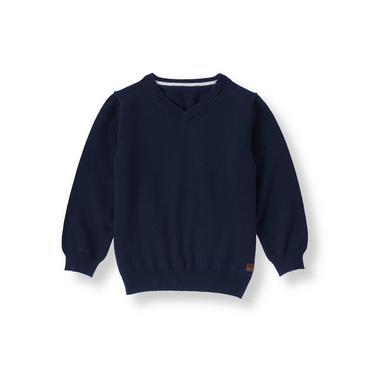 Boys Navy V-Neck Sweater at JanieandJack