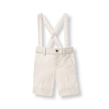 Khaki Stripe Striped Suspender Short at JanieandJack