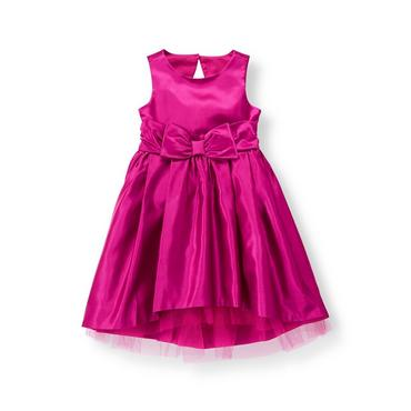 Sweet Plum Satin Bow Dress at JanieandJack