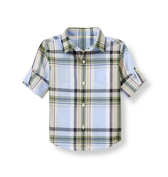 Roll-Cuff Madras Shirt