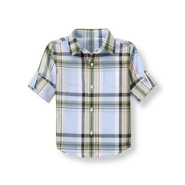 Paradise Blue Plaid Roll-Cuff Madras Shirt at JanieandJack